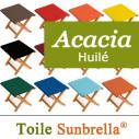 Tabouret Bois, Acacia Huilé et Toile Sunbrella