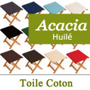 Tabouret Pliant Toile et Acacia