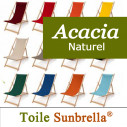 Transat Bois, Acacia Naturel et Tissu Sunbrella
