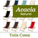 Transat Bois, Acacia Naturel et Tissu Coton