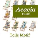 Transat Acacia huilé et Toile Imprimée