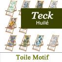 Transats en Bois de Teck et Toiles Imprimées